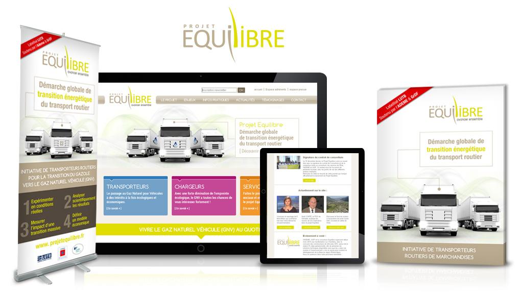 Communication pour Equilibre : plaquette, site internet, newsletter, kakémono