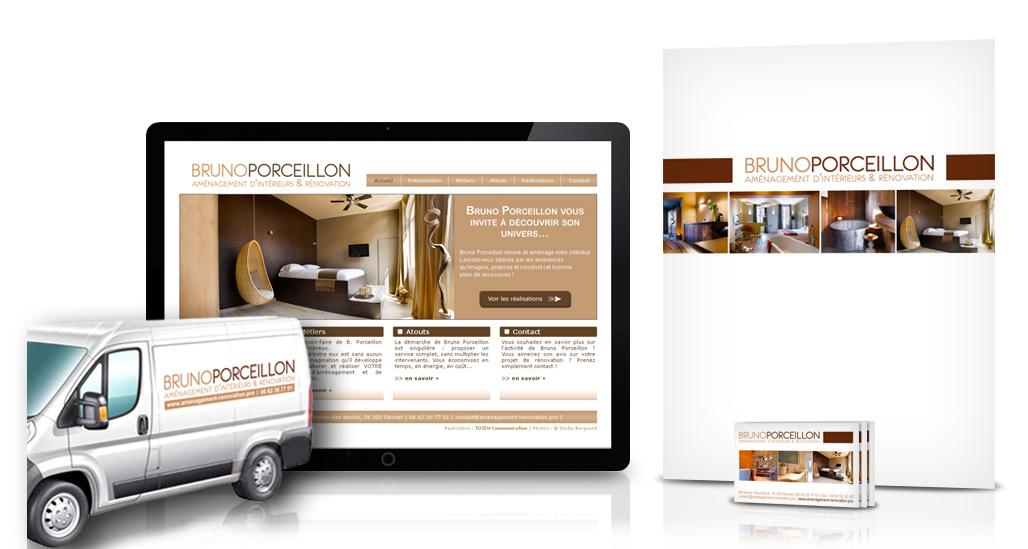Carte de visite, pochette, site internet et adhésifs pour Bruno Porceillon