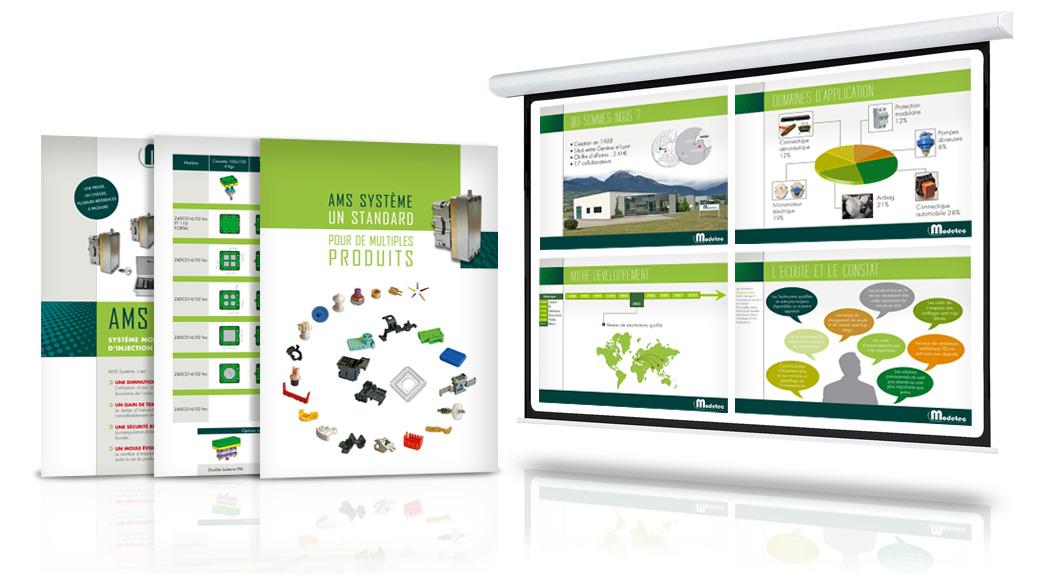 Réalisation pochette, fiches produits et diaporama pour Modetec