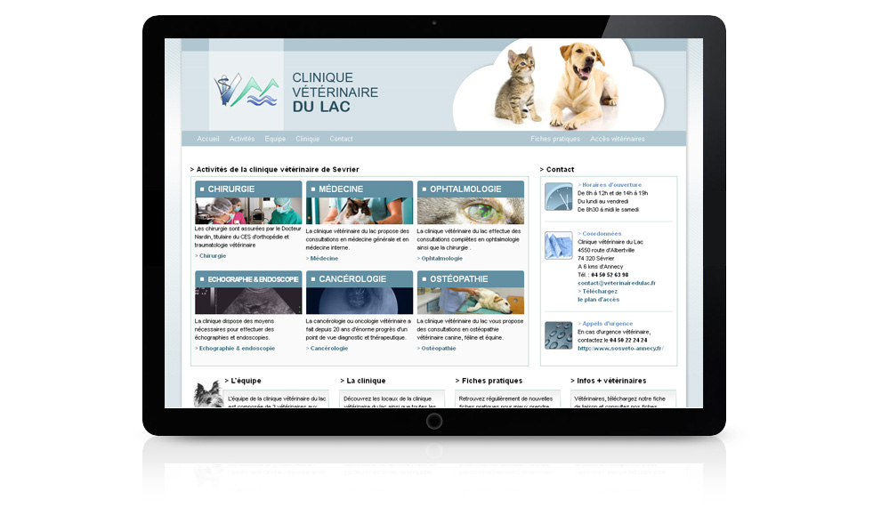 Réalisation site internet pour la Clinique Vétérinaire du Lac