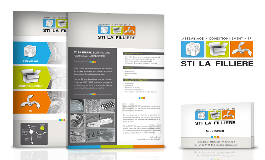 Logo, carte de visite et fiche de présentation pour STI