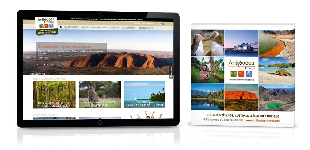Réalisation site internet et flyer pour Antipodes Travel