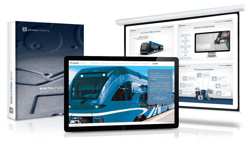 Communication pour pinta industry : porte échantillons, diaporama, site internet
