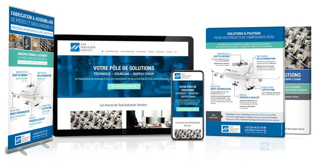 Réalisation site internet et brochure Sud Industrie
